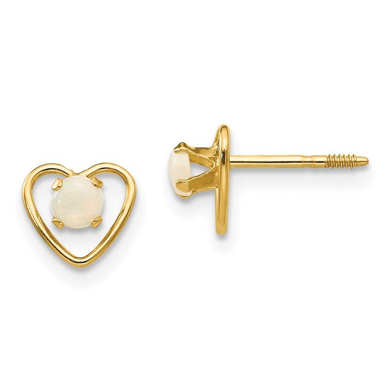 Quality Gold 14k Madi K 3mm Opal Birthstone Heart Earrings