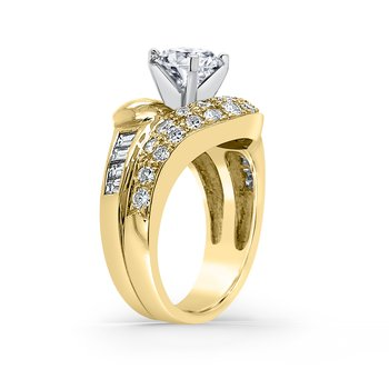 18K Yellow Gold Diamond Retro Engagement Ring