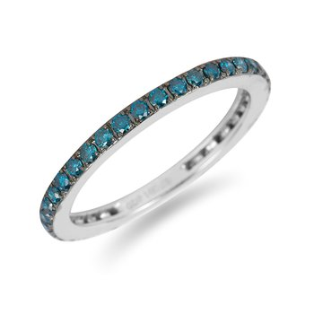 14K WG Blue Diamond Eternal Band