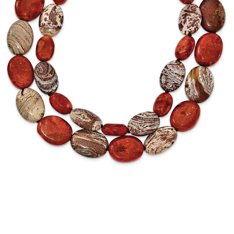 Quality Gold Sterling Silver Carnelian/Reconstituted Coral/Red Zebra Jasper Necklace