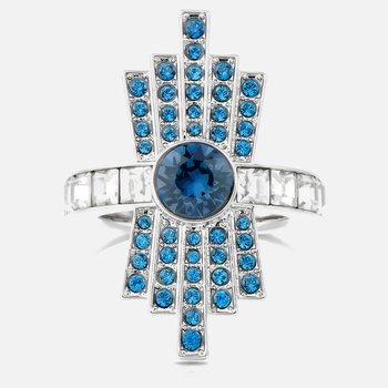Karl Lagerfeld Cocktail Ring, Blue, Palladium plated