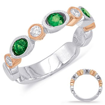 Rose & White Emerald & Diamond Ring