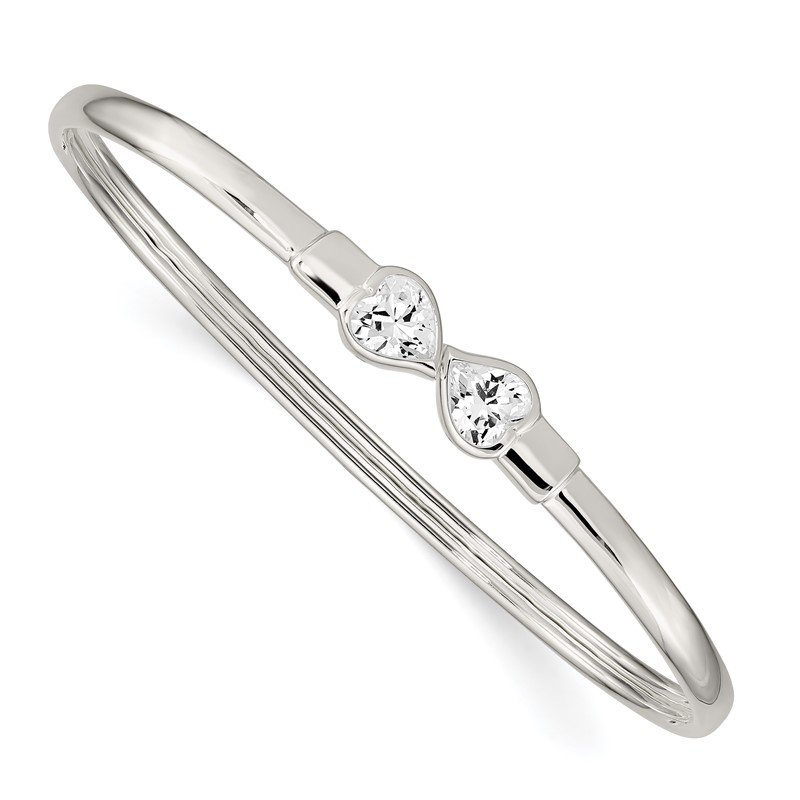 Quality Gold Sterling Silver CZ Heart Open/Flexible Bangle Bracelet