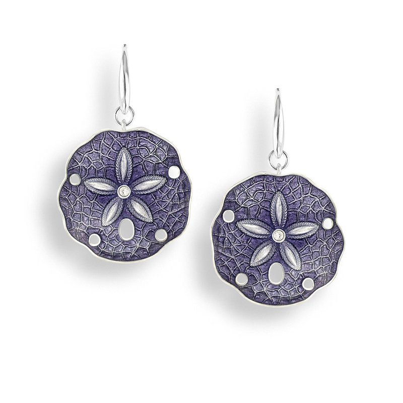 Nicole Barr Designs Purple Sand Dollar Wire Earrings.Sterling Silver-White Sapphires
