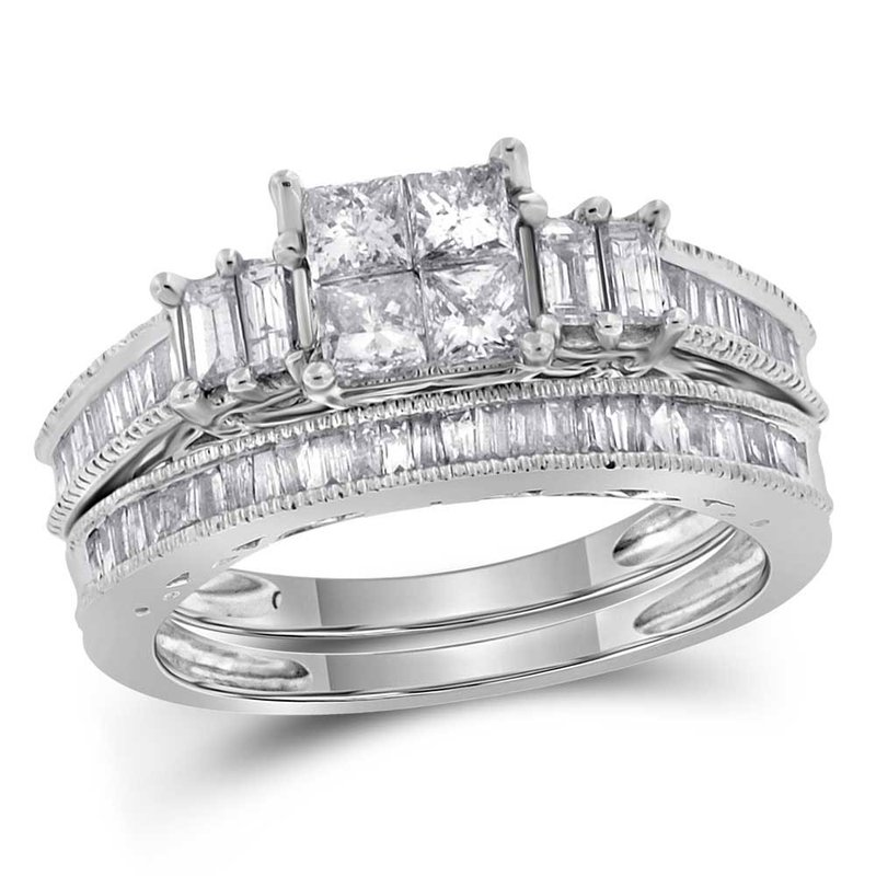 Gold-N-Diamonds, Inc. (Atlanta) 14kt White Gold Womens Princess Diamond Bridal Wedding Engagement Ring Band Set 1.00 Cttw