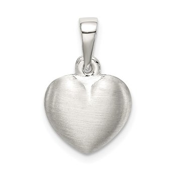 Sterling Silver Satin Heart Pendant