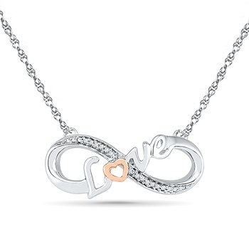 0.02 CTTW Silver with 10KT Pink Gold Diamond Love Necklaces