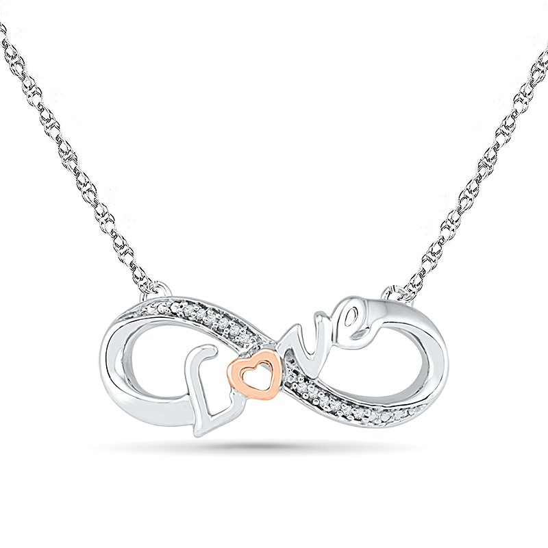 Gifts That Rock   0.02 CTTW Silver with 10KT Pink Gold Diamond Love Necklaces