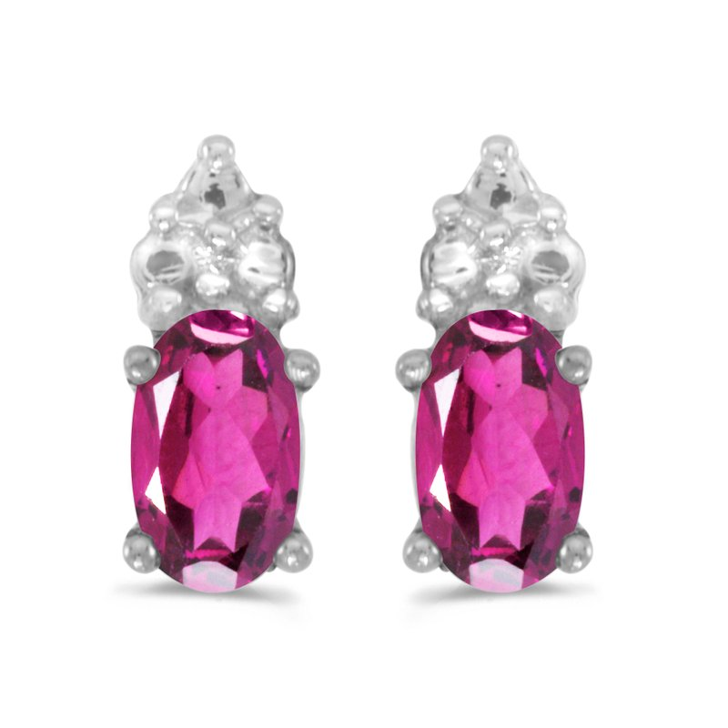 Color Merchants 10k White Gold Oval Pink Topaz Earrings
