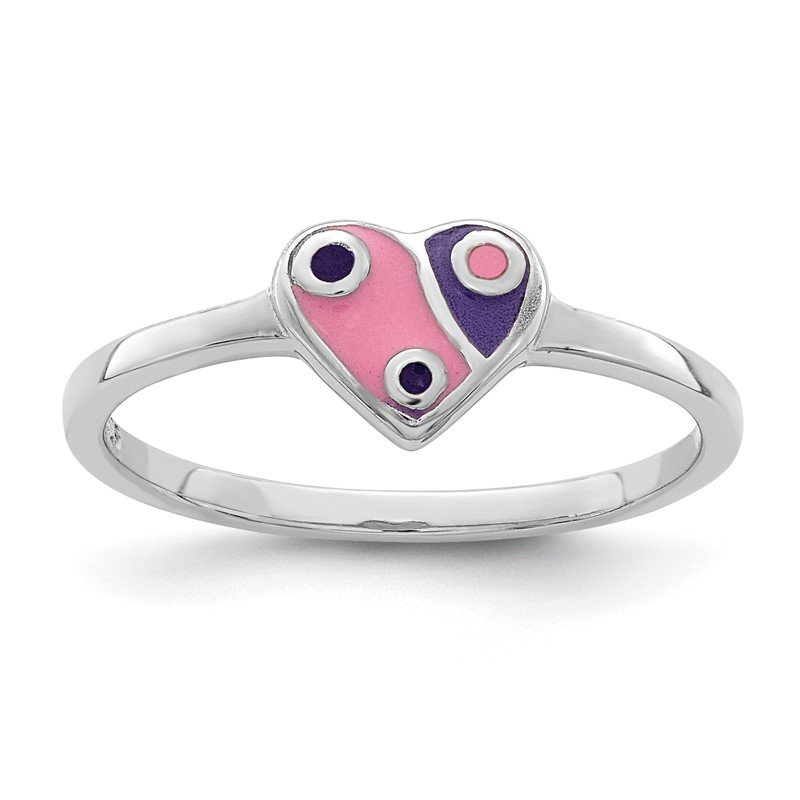 Arizona Diamond Center Collection Sterling Silver Rhodium-plated Childs Enameled Pink/Purple Heart Ring