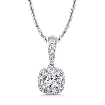 Diamond Cushion Halo and Diamond Bale Pendant in 14K White Gold (1/4ct. tw.)