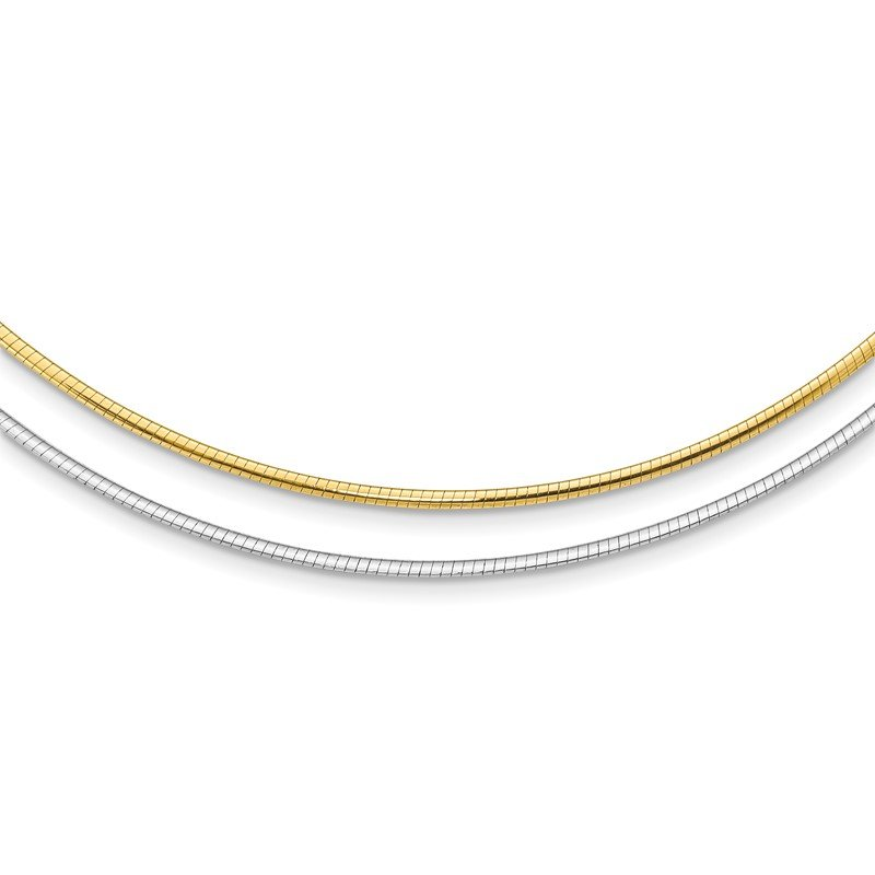 Quality Gold 14k Two-tone Reversible 2mm Omega Necklace