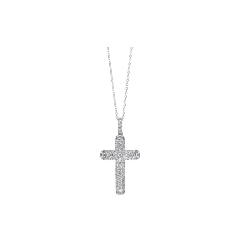 Gems One Diamond Classic Cross Pendant Necklace in Sterling Silver