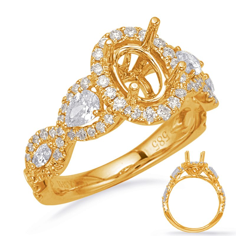 S. Kashi & Sons Bridal Yellow Gold Halo Engagement Rin