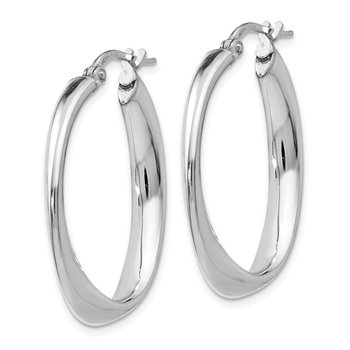 Leslie's Sterling Silver Polished Twisted Oval Hoop Earrings