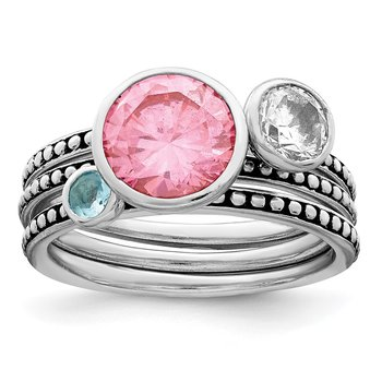 Sterling Silver Rhodium-plated w/Pink & White CZ and Blue Glass Ring Set