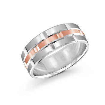 Trendy 8mm white and rose gold brick motif satin finish band with high polished grooved accents