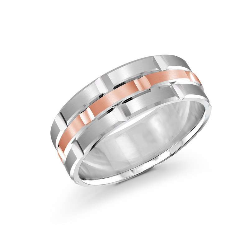 Mardini Trendy 8mm white and rose gold brick motif satin finish band with high polished grooved accents