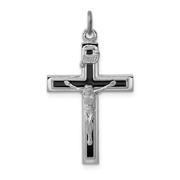 Sterling Silver Rhodium-plated Enameled Crucifix Pendant