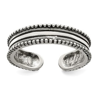 Sterling Silver Polished and Antiqued Adjustable Ring