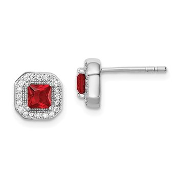 Sterling Silver Rhodium Plated Clear CZ and Square Red CZ Post Earrings