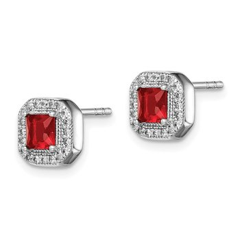 Sterling Silver Rhodium Plated Red and Clear CZ Post Earrings