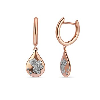 14K RG and diamond Dangling Pear shape earring in prong setting.