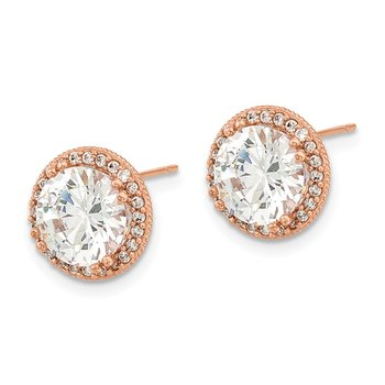 10K Tiara Collection Rose Gold Polished CZ Post Earrings