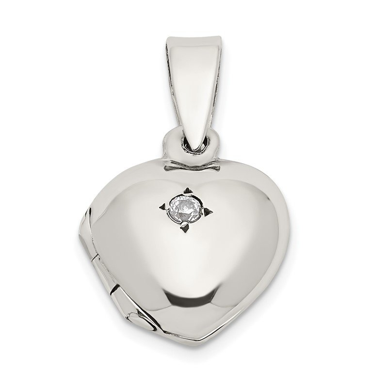 Quality Gold Sterling Silver CZ Heart Locket