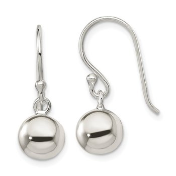 Sterling Silver Dangle Ball Shephard Hook Earrings