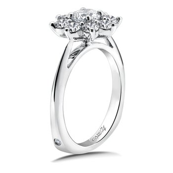 Halo Engagement Ring Mounting in 14K White Gold (1.29 ct. tw.)