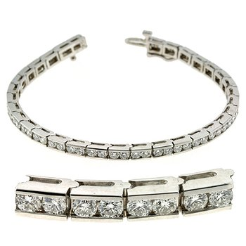 Channel Set White Gold Bracelet