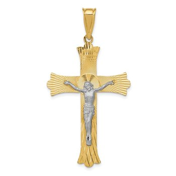 14k Two-Tone Polished Satin D/C Crucifix Cross Pendant