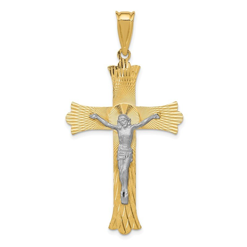 Quality Gold 14k Two-Tone Polished Satin D/C Crucifix Cross Pendant