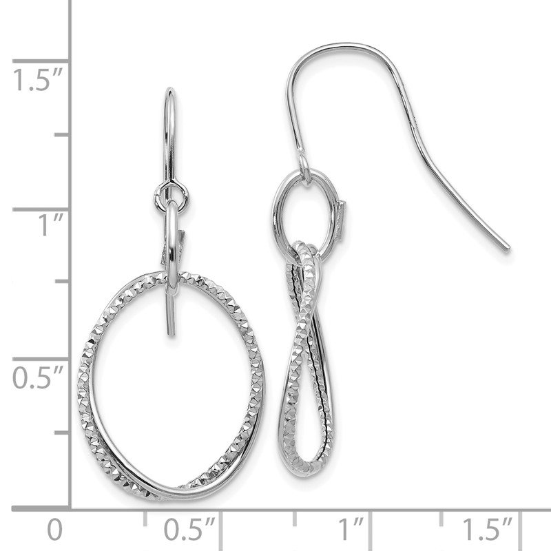 Leslie's Leslie's 14K White Gold Polished & Textured Shepherd Hook Earrings