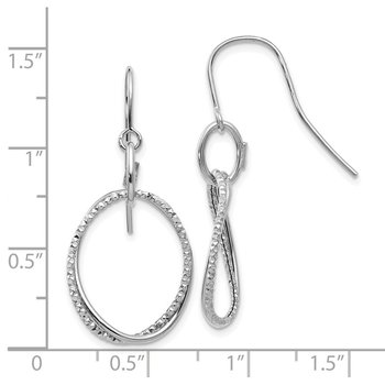 Leslie's 14K White Gold Polished & Textured Shepherd Hook Earrings