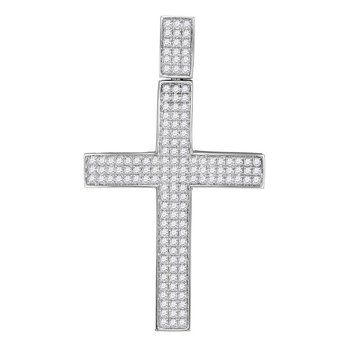 10kt White Gold Mens Round Diamond Roman Cross Religious Charm Pendant 3-1/4 Cttw