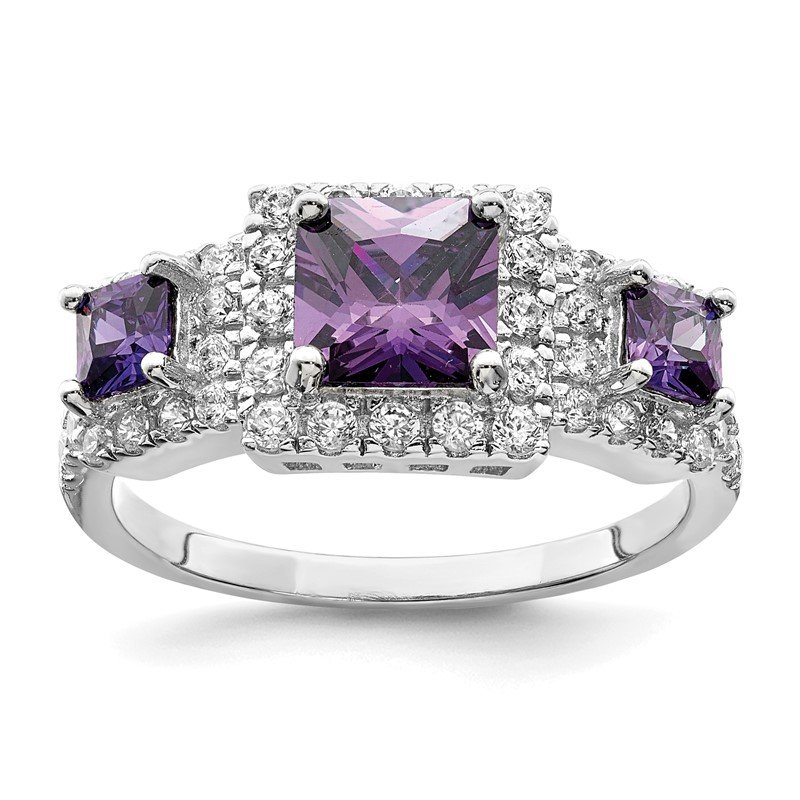 Quality Gold Sterling Silver Purple Square CZ Ring