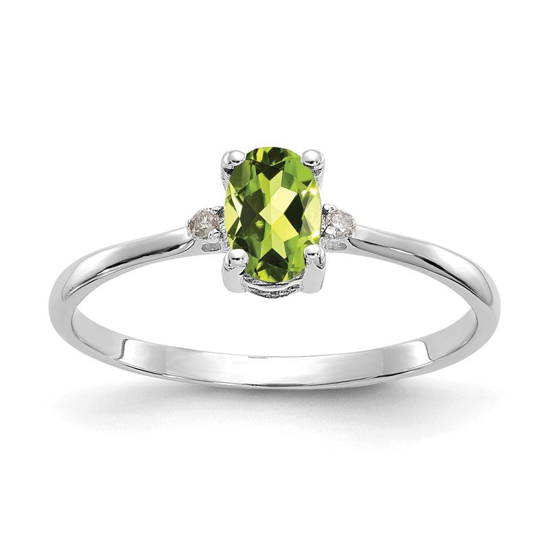 Quality Gold 14k White Gold Diamond & Peridot Birthstone Ring