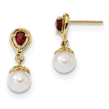 14K 6-7mm FWC Pearl Mozambique Garnet Dangle Post Earrings