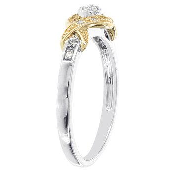10k Two-tone White and Yellow Gold 1/10ct TDW Diamond Promise Ring