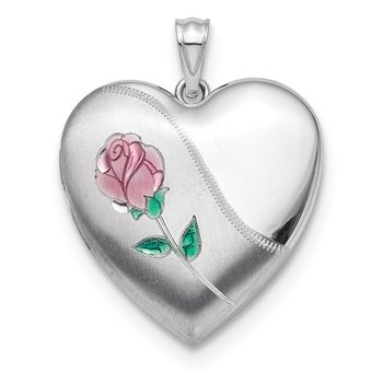 Sterling Silver Rhodium 24mm Satin Enamel D/C Rose Ash Holder Locket