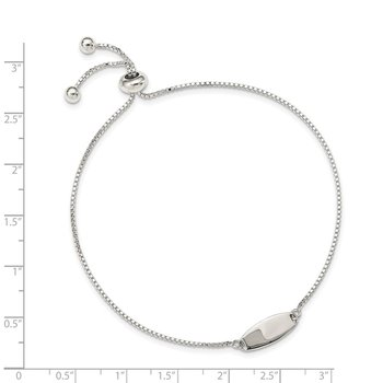 Sterling Silver Polished Bar Adjustable Bracelet