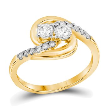 10kt Yellow Gold Womens Round Diamond 2-stone Hearts Together Bridal Wedding Engagement Ring 1/2 Cttw (Certified)