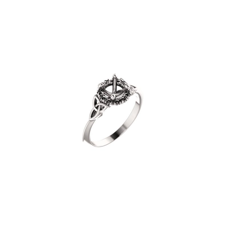 Stuller 18K White 5.8 mm Round Celtic-Inspired Engagement Ring Mounting
