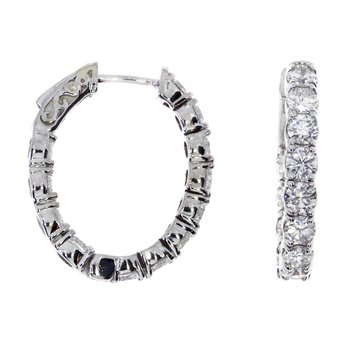 14k White Gold Oval Secure Lock Hoops (3CT)