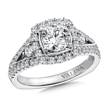 Halo Engagement Ring Mounting in 14K White Gold (.70 ct. tw.)