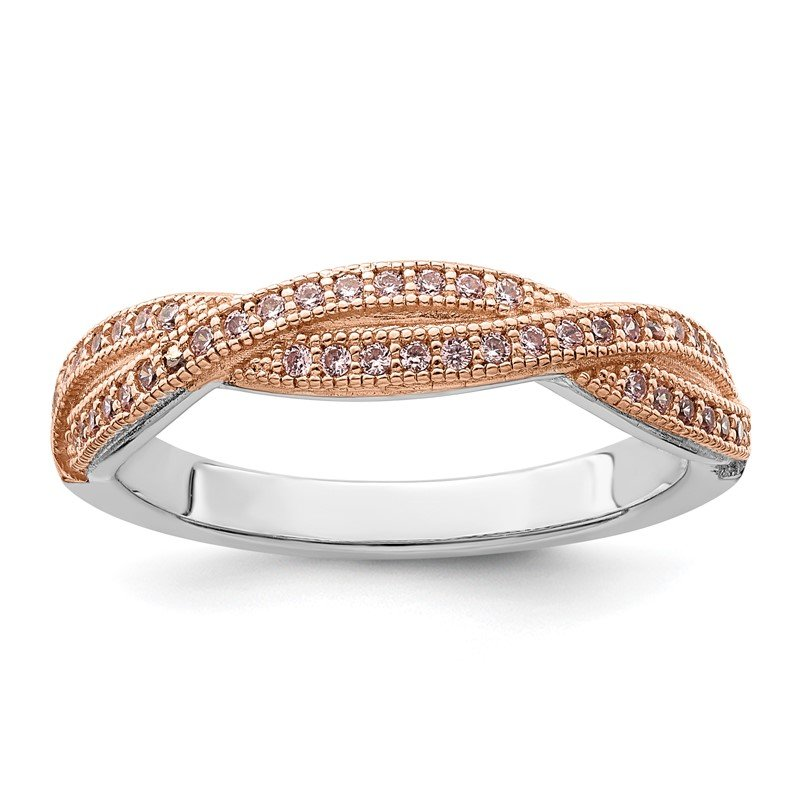Arizona Diamond Center Collection Sterling Silver Brilliant Embers Rose Gold-plated CZ Polished Ring