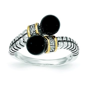 Sterling Silver w/ 14k Black Onyx and Diamond Ring