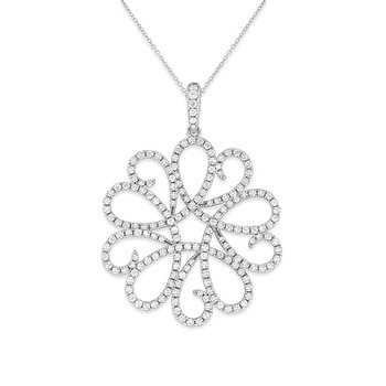 Diamond Swirl Necklace in 14k White Gold with 181 Diamonds weighing 1.12ct tw